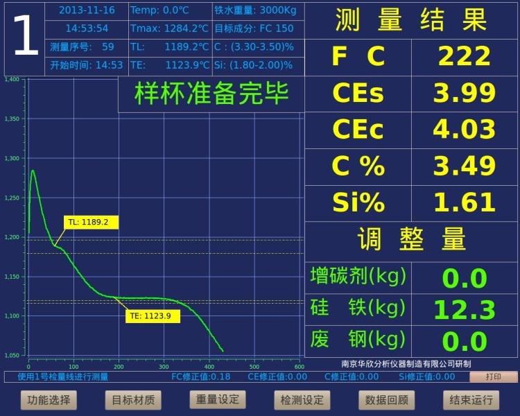 metal analyzer Detection Main Interface